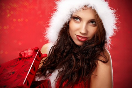 Happy young woman with christmas  gift box Stock Photo - 7436603
