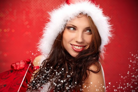 Happy young woman with christmas  gift box Stock Photo - 7436607