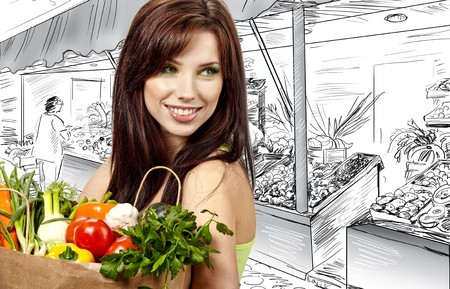 woman holding a  bag full of healthy food. shopping in mall Stock Photo - 7436693