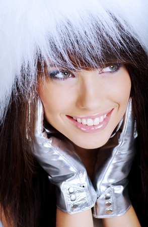 Winter Girl with beautiful make up, silver gloves Stock Photo - 7454621