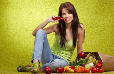 light meal: Woman with fruits and vegetables , green concept
