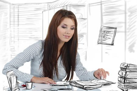 Portrait of a beautiful business woman in the office doing some paperwork Stock Photo - 7497939