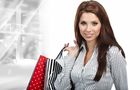Beautiful shopping woman at a draw mall Stock Photo - 7587605