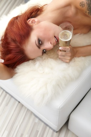 drunk woman: pretty woman in party with champagne glass