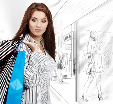 Beautiful shopping woman at a draw mall  photo