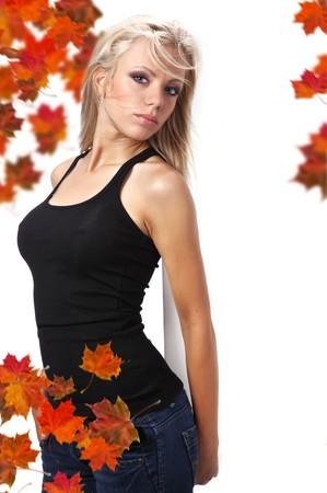 autumn woman holding board Stock Photo - 7687749