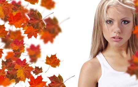 autumn woman holding board photo