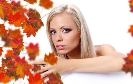 autumn woman holding board Stock Photo - 7687741