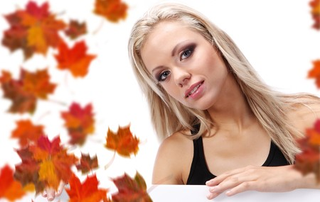 autumn woman holding board Stock Photo - 7687742