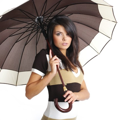woman with umbrella: autumn girl with brown umbrella