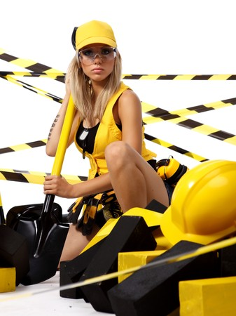 Sexy blonde female construction worker photo