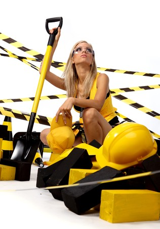 Sexy blonde female construction worker Stock Photo - 7762363