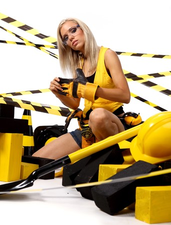 Sexy blonde female construction worker Stock Photo - 7762403