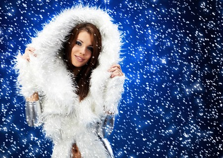 portrait of a winter woman, fantasy fashion photo