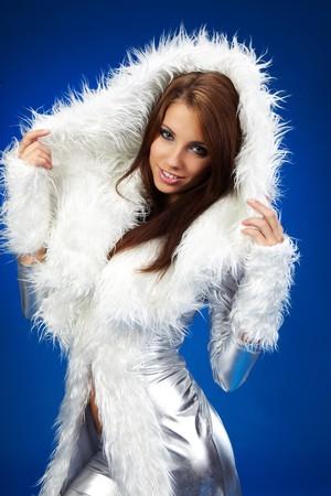 portrait of a winter woman, fantasy fashion photo