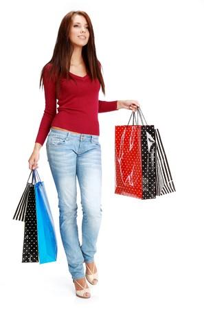 compras chica: sexy girl de compras  Foto de archivo