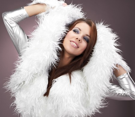 Glamour Portrait of sexy winter woman  photo
