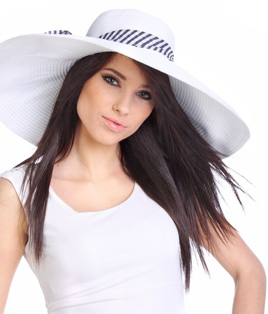 ordinary woman: Summer girl wearing a white hat Stock Photo