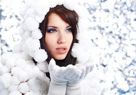 pompon: Portrait of a Winter woman. Pom-pon hat Stock Photo