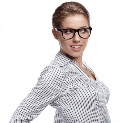 Portrait of pretty young business woman smiling  photo