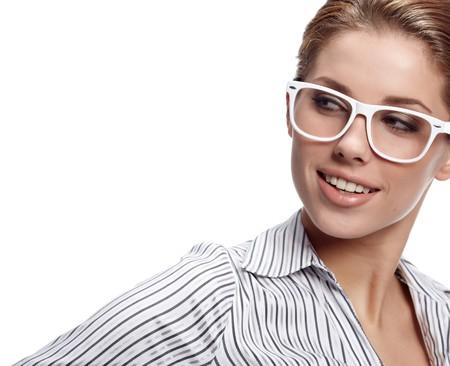 bussines: zaken vrouw in glazen  Stockfoto