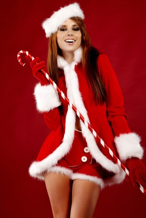 beautiful sexy girl wearing santa claus clothes Stock Photo - 7887259