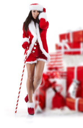 beautiful sexy girl wearing santa claus clothes  Stock Photo - 7887236