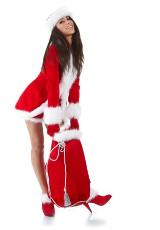 beautiful sexy girl wearing santa claus clothes  Stock Photo - 7887241