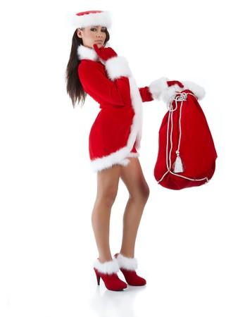 beautiful sexy girl wearing santa claus clothes Stock Photo - 7887237