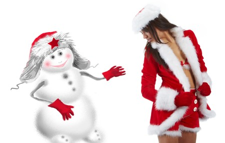 beautiful sexy girl wearing santa claus clothes  Stock Photo - 7887261
