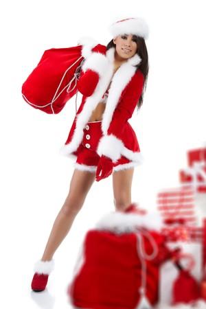 beautiful sexy girl wearing santa claus clothes Stock Photo - 7887250