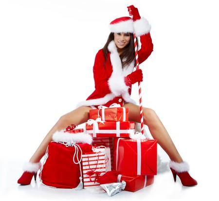 beautiful sexy girl wearing santa claus clothes Stock Photo - 7887239