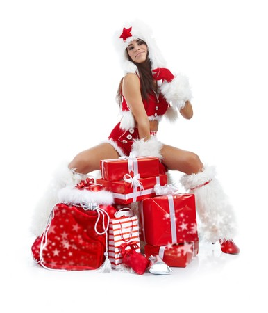 beautiful sexy girl wearing santa claus clothes Stock Photo - 7887240