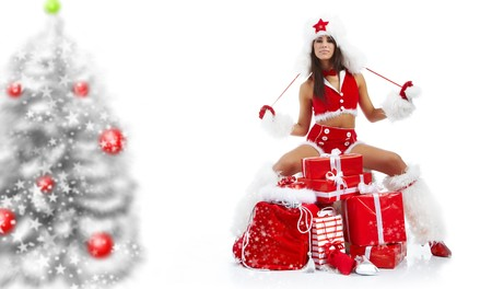 beautiful sexy girl wearing santa claus clothes  Stock Photo - 7887243
