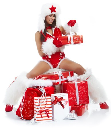 beautiful sexy girl wearing santa claus clothes  Stock Photo - 7887249
