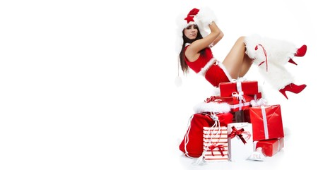 beautiful sexy girl wearing santa claus clothes  Stock Photo - 7887235