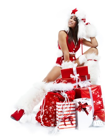 beautiful sexy girl wearing santa claus clothes Stock Photo - 7887254
