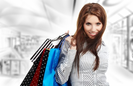 Beautiful shopping woman at a draw mall  Stock Photo - 7887313