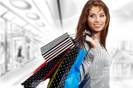 Beautiful einkaufen Frau in ein Unentschieden-mall  Standard-Bild