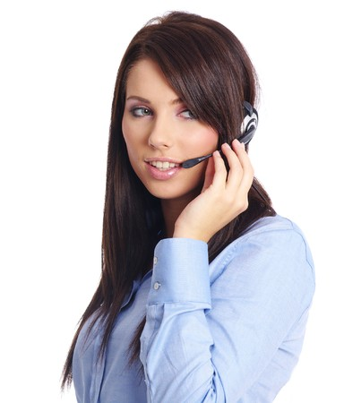 Beautiful Customer Representative with headset smiling during a telephone conversation Stock Photo - 7887273