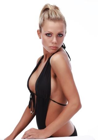 sexy bikini girl:  beautiful sexy tanned happy woman in black bikini