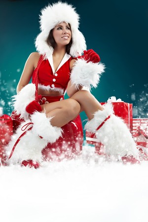 christmas girl: beautiful sexy girl wearing santa claus clothes