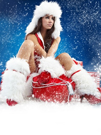 beautiful sexy girl wearing santa claus clothes Stock Photo - 7946588