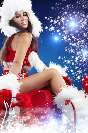 beautiful sexy girl wearing santa claus clothes  Stock Photo - 7946613