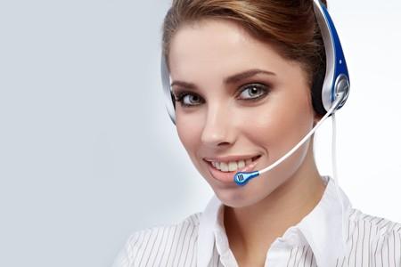 Beautiful Customer Representative girl with headset photo