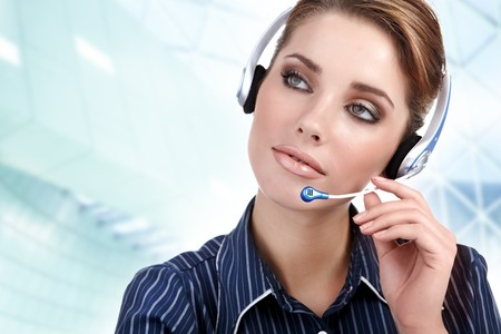 hotlink: Beautiful Customer Representative girl with headset