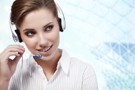 hotlink: Beautiful Customer Representative girl with headset