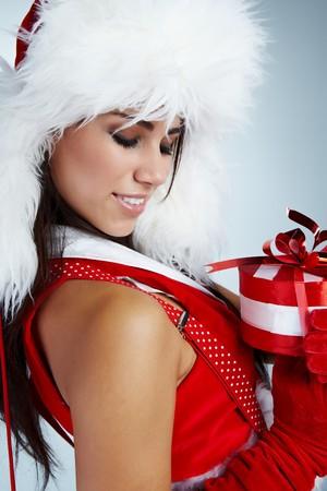 winter girl with christmas gift Stock Photo - 7946713