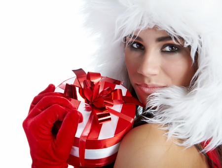 winter girl with christmas gift photo