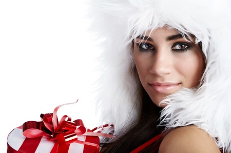 winter girl with christmas gift Stock Photo - 7946670